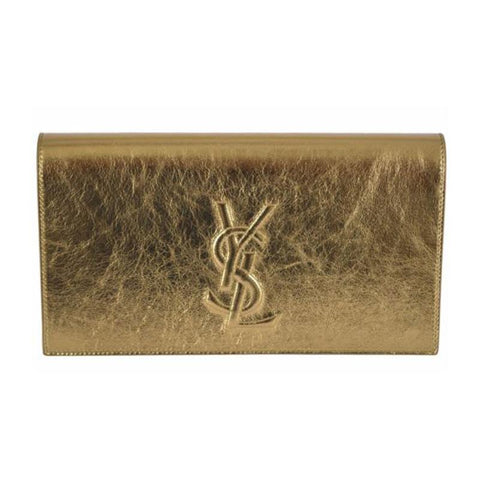 Saint Laurent YSL Belle de Jour Large Metallic Gold Clutch Bag 568937 at_Queen_Bee_of_Beverly_Hills