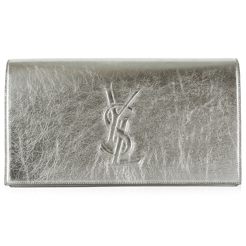 Saint Laurent YSL Belle de Jour Large Metallic Silver Leather Clutch Bag 568937 at_Queen_Bee_of_Beverly_Hills