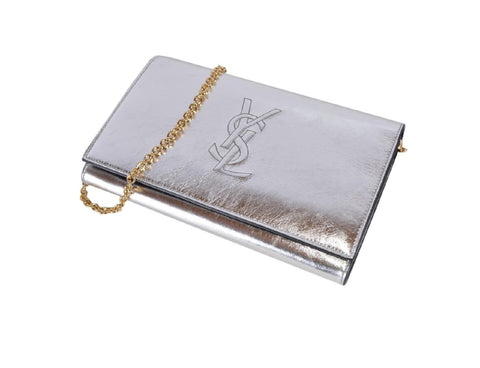 Saint Laurent YSL Belle De Jour Metallic Silver Leather Wallet on Chain 559075 at_Queen_Bee_of_Beverly_Hills