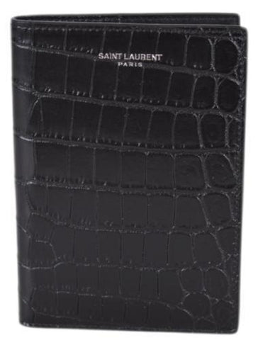 Saint Laurent YSL Black Croc Embossed Leather Passport Holder Wallet 441711 at_Queen_Bee_of_Beverly_Hills
