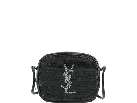 Saint Laurent YSL Black Sequin Leather Monogram Blogger Mini Handbag 482409 at_Queen_Bee_of_Beverly_Hills