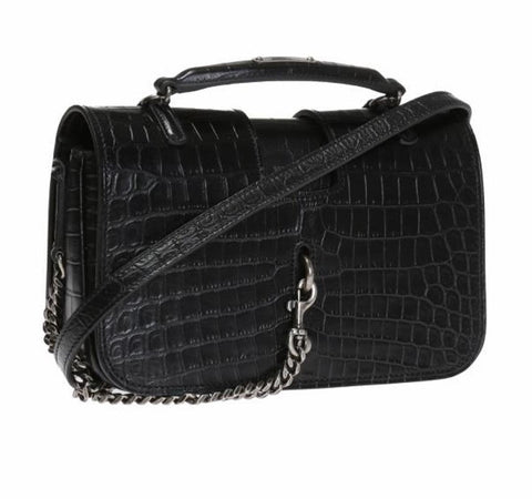 Saint Laurent YSL Black Womens Crocodile Style Leather Charlotte Handbag 486638 at_Queen_Bee_of_Beverly_Hills