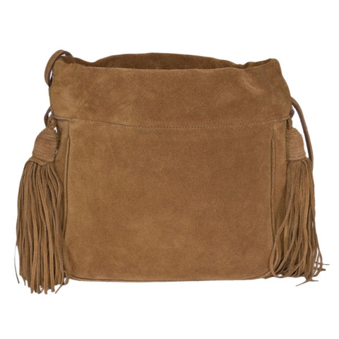 Saint Laurent YSL Bo Ponchon Camel Beige Suede Fringe Tassel Cross Body 414187 at_Queen_Bee_of_Beverly_Hills