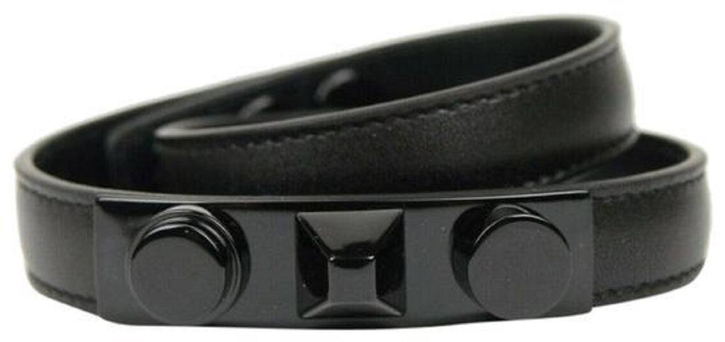 Saint Laurent YSL Bracelet Wrap Cuff Monet Black Studs Leather Small 415293 at_Queen_Bee_of_Beverly_Hills