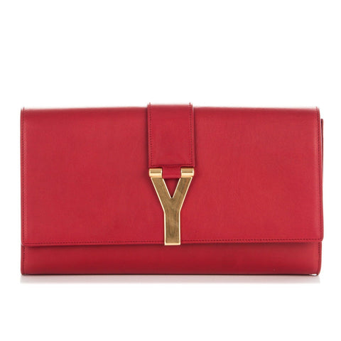 Saint Laurent YSL Classic Red Leather Ligney Y Logo Clutch Handbag 311213 at_Queen_Bee_of_Beverly_Hills