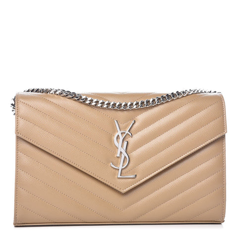 Saint Laurent YSL Dark Beige Quilted Leather Monogram Crossbody Handbag 377828 at_Queen_Bee_of_Beverly_Hills