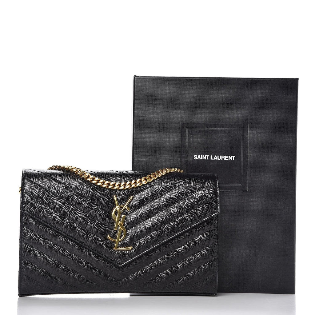 Saint Laurent YSL Dark Gray Quilted Leather Monogram Crossbody Handbag 377828 at_Queen_Bee_of_Beverly_Hills