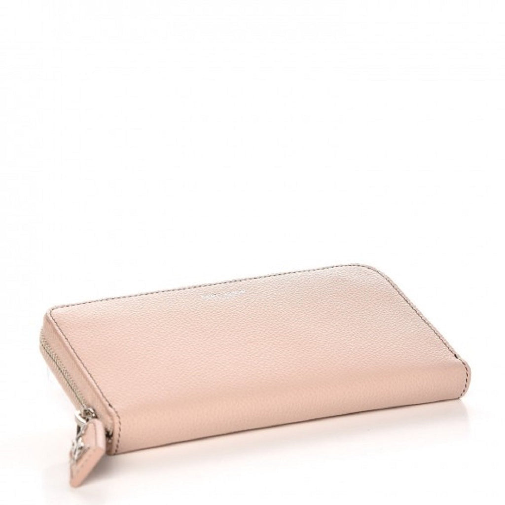 Saint Laurent YSL Epson Marble Pink Pebbled Leather Zip Around Wallet 414680 at_Queen_Bee_of_Beverly_Hills