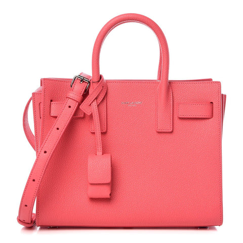 Saint Laurent YSL Grained Leather Pink Nano Mini Sac de Jour Leather Shoulder Handbag 398711 at_Queen_Bee_of_Beverly_Hills