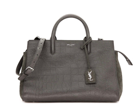 Saint Laurent YSL Gray Leather Crocodile Embossed Handbag Medium 400413 at_Queen_Bee_of_Beverly_Hills