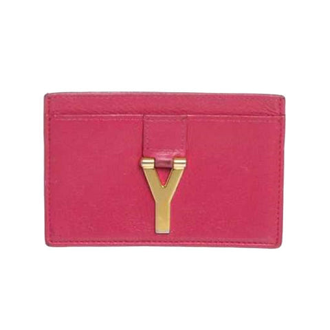 Saint Laurent YSL Hot Pink Fuchsia Card Case Holder w Gold Monogrammed Y Logo 318247 at_Queen_Bee_of_Beverly_Hills