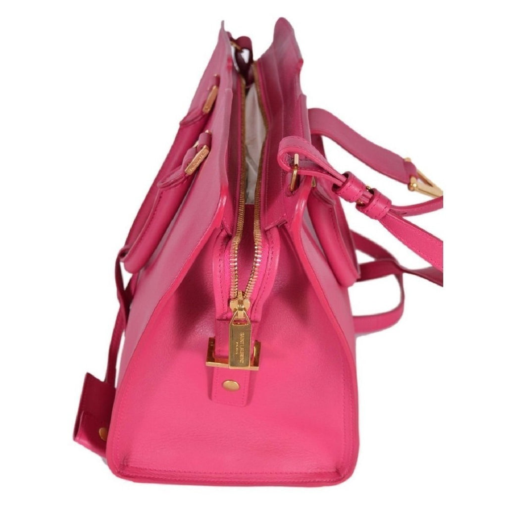 Saint Laurent YSL Ligne Y Macho Satchel Fushia Pink Handbag 311208 at_Queen_Bee_of_Beverly_Hills