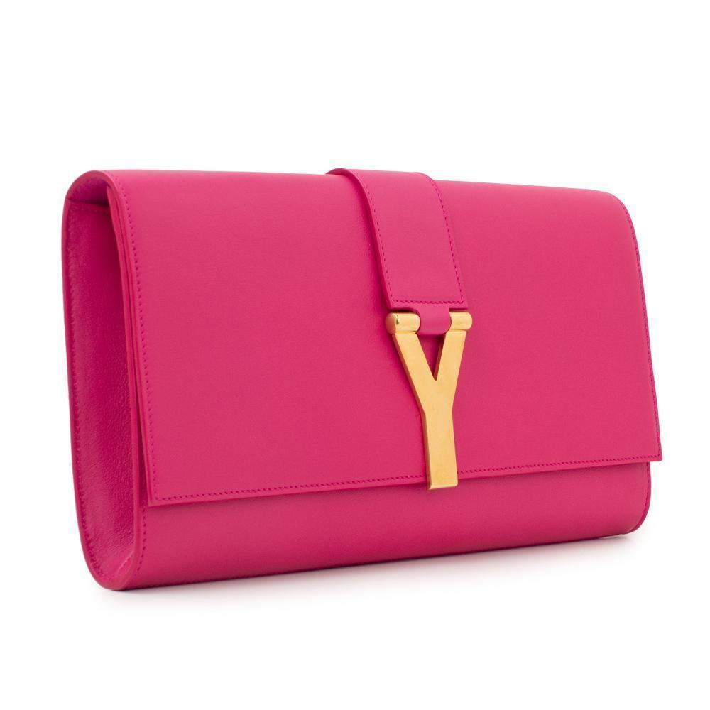 Saint Laurent YSL Linge Y Gold Logo Pink Leather Medium Clutch 311213 at_Queen_Bee_of_Beverly_Hills