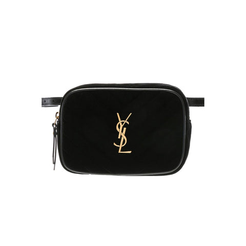 Saint Laurent YSL Lou Belt Bag in Black Velvet Gold Monogramme 534817 at_Queen_Bee_of_Beverly_Hills