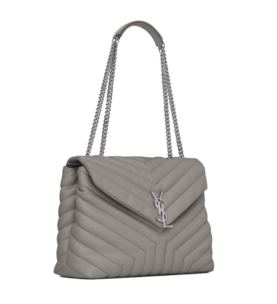 "Saint Laurent YSL Loulou Monogram Large BAG IN PEARL GREY ""YSL"" MATELASSÉ LEATHER Chain Shoulder Bag 459749 at_Queen_Bee_of_Beverly_Hills"