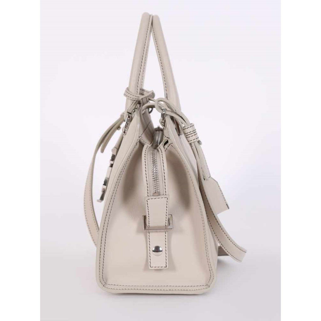Saint Laurent YSL Monogram Baby Cabas Ivory Leather Satchel 424868 at_Queen_Bee_of_Beverly_Hills