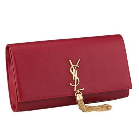 Saint Laurent YSL Monogram Cassandre Tassel Red Leather Clutch 3260080 at_Queen_Bee_of_Beverly_Hills