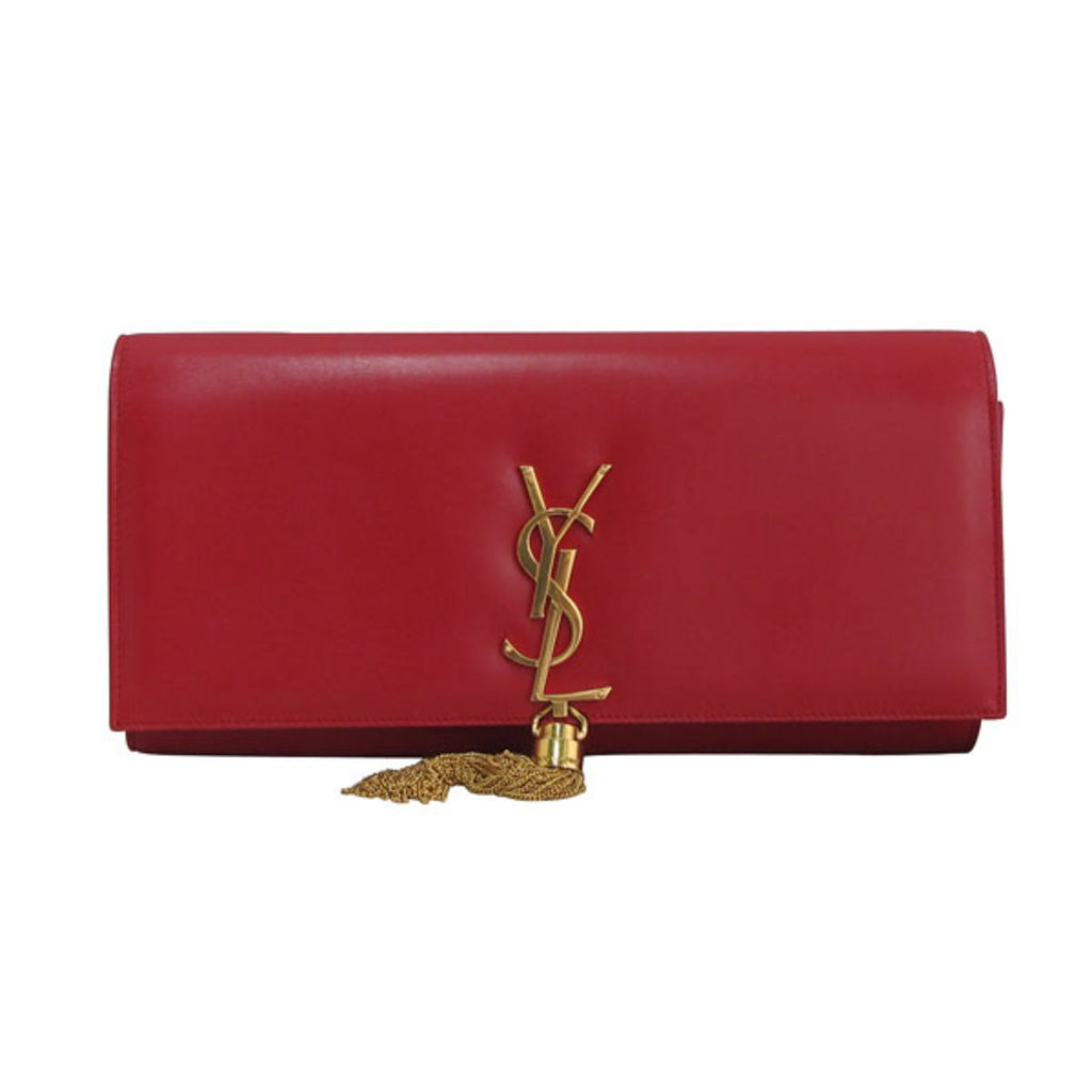 Saint Laurent YSL Monogram Cassandre Tassel Red Leather Clutch 326080 at_Queen_Bee_of_Beverly_Hills