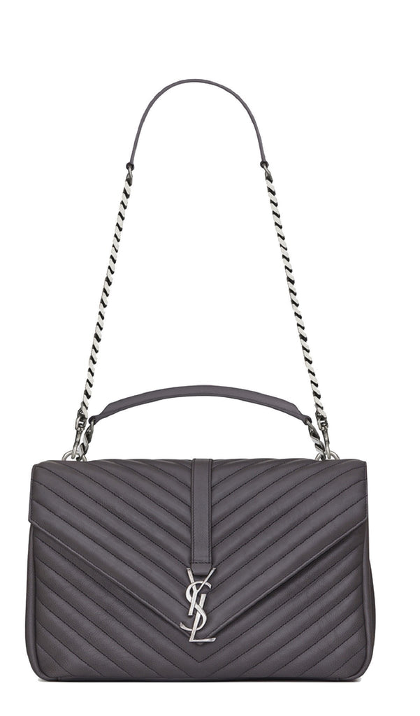 Saint Laurent YSL Monogram Collège Classic Matelasse Chevron Gray Bag 392738 at_Queen_Bee_of_Beverly_Hills