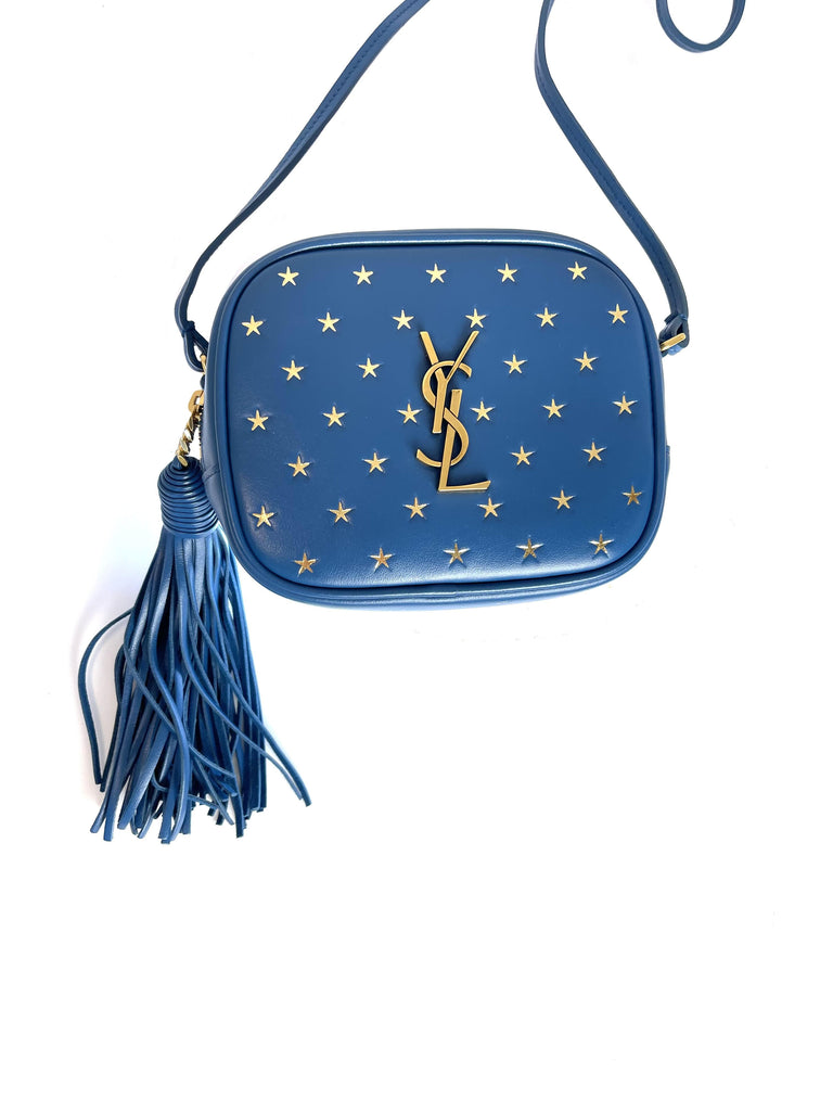 Saint Laurent YSL Monogram Pouch  'Gold Star' Deep Sea Blogger Mini Bag 425317 at_Queen_Bee_of_Beverly_Hills