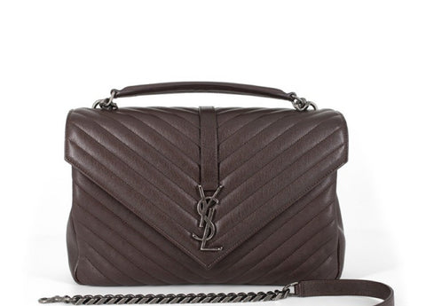 Saint Laurent YSL Monogramme College Large Brown Handbag 487212 at_Queen_Bee_of_Beverly_Hills