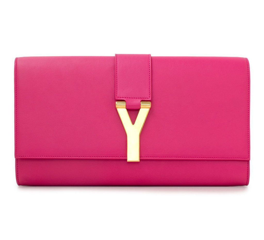 Saint Laurent YSL Pink Leather Ligne Y Logo Clutch Medium Handbag 311213 at_Queen_Bee_of_Beverly_Hills