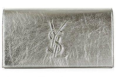 Saint Laurent YSL Silver Metallic Leather Large Belle de Jour Clutch Bag 361120 at_Queen_Bee_of_Beverly_Hills