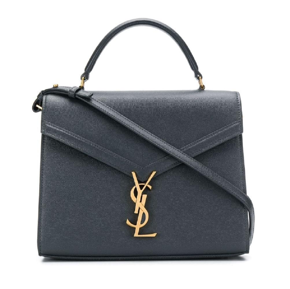 Saint Laurent YSL Smog Gray Monogram Medium Cassandra Leather Handbag 578000 at_Queen_Bee_of_Beverly_Hills