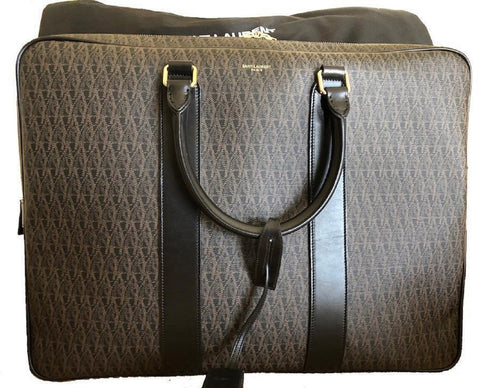 Saint Laurent YSL Squared Luggage Toile Monogram Rodeo 343690 at_Queen_Bee_of_Beverly_Hills