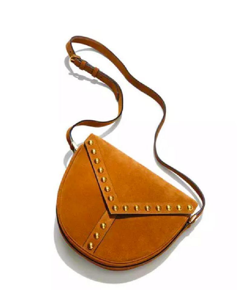 Saint Laurent YSL Studded Besace Saddle Brown Suede Crossbody Bag 355153 at_Queen_Bee_of_Beverly_Hills