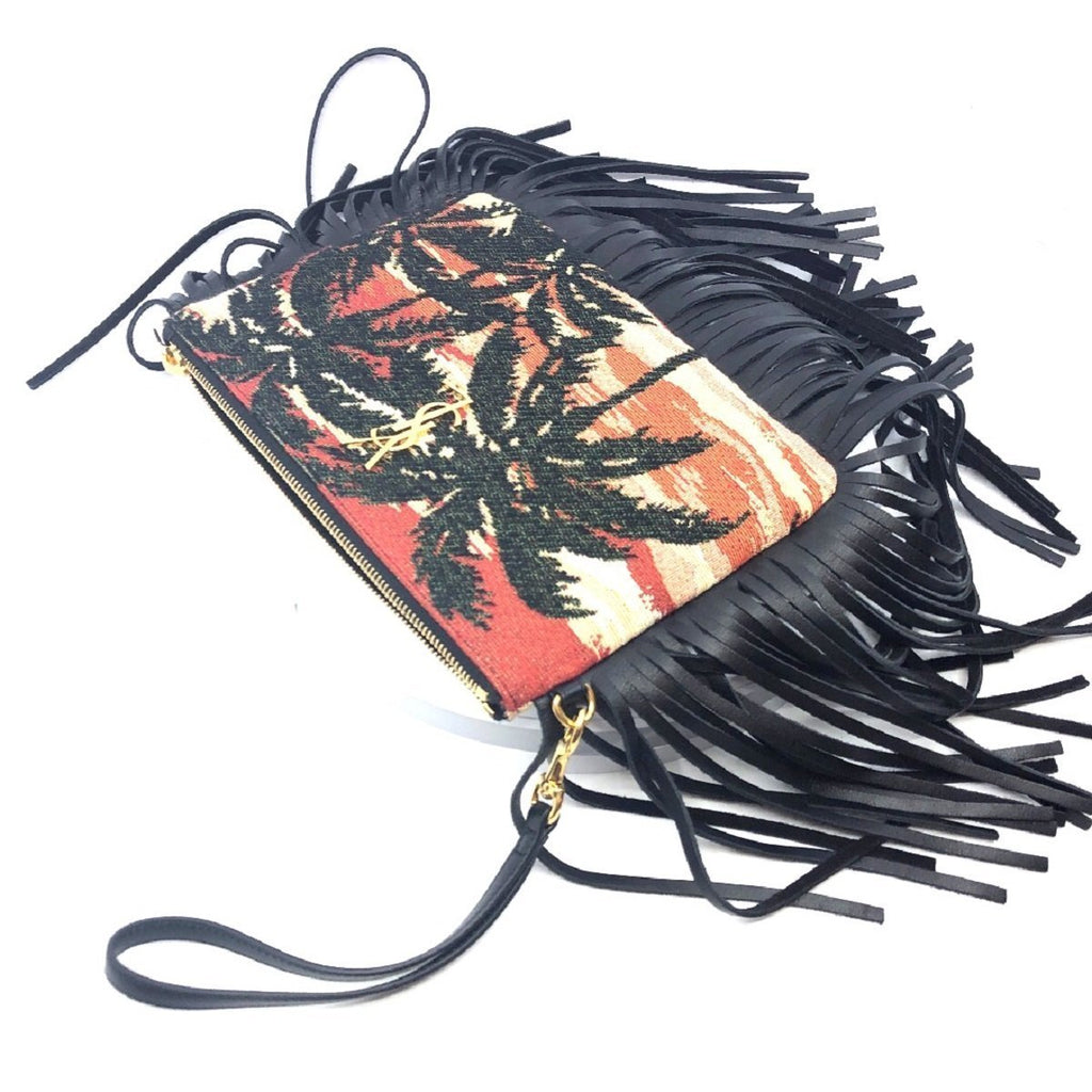 Saint Laurent YSL Tropical Pouch Clutch Wristlet Gold logo Black Fringe 403446 at_Queen_Bee_of_Beverly_Hills