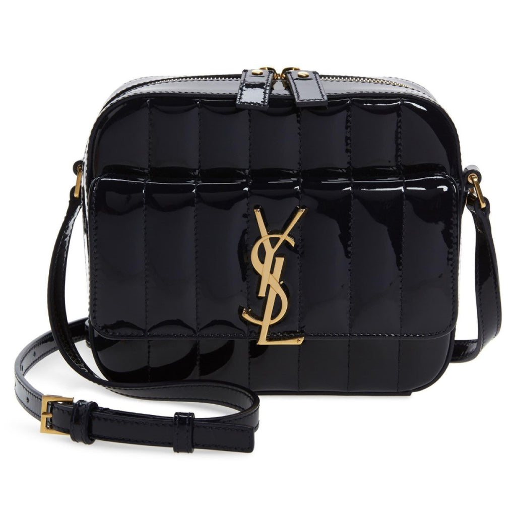 Saint Laurent YSL Vicky Black Patent Quilted Leather Monogram Camera Bag 555052 at_Queen_Bee_of_Beverly_Hills
