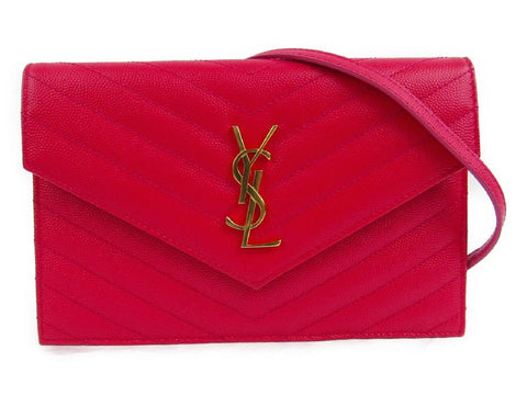 Saint Laurent YSL Wallet Clutch Grain De Poudre Techno Quilted Leather Red 393953 at_Queen_Bee_of_Beverly_Hills
