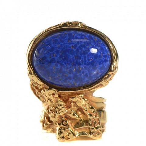 Saint Laurent YSL Women's Arty Ovale Oval Lapis Gold Ring  size 7 196994 at_Queen_Bee_of_Beverly_Hills