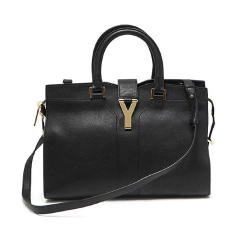 Saint Laurent YSL Women's Black Leather Ligne Y Satchel Handbag  Bag 400666 at_Queen_Bee_of_Beverly_Hills