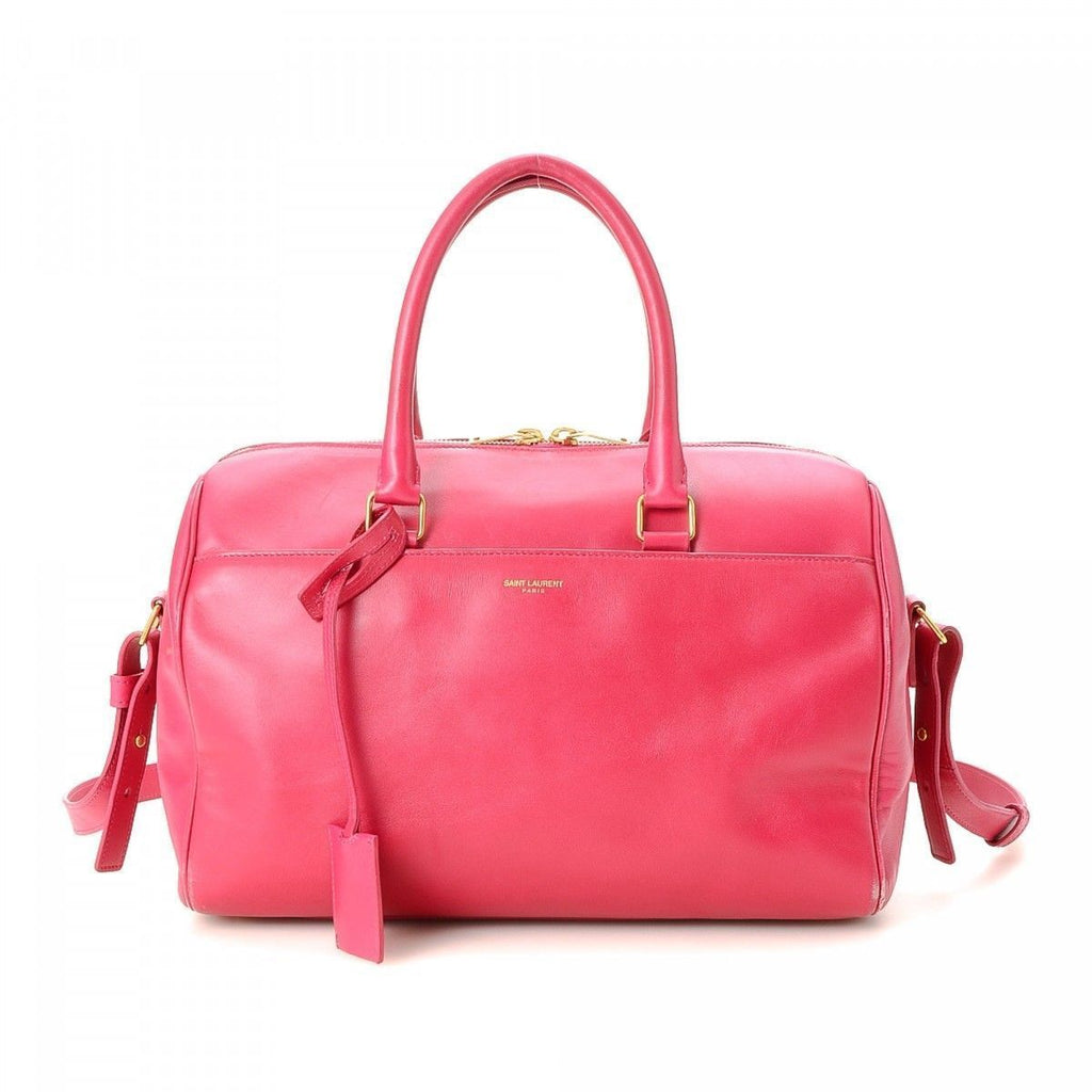 Saint Laurent YSL Women's Classic 6 Hour Fuchsia Pink Leather Duffel Handbag 314704 at_Queen_Bee_of_Beverly_Hills