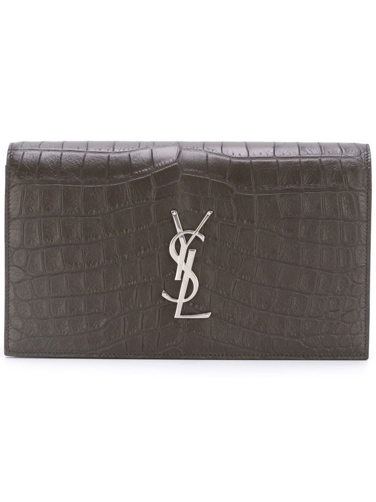 Saint Laurent YSL Women's classic Grey Crocodile Clutch 400409 at_Queen_Bee_of_Beverly_Hills
