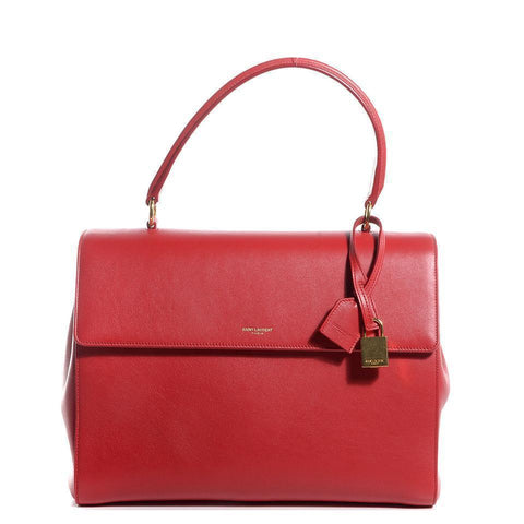 Saint Laurent YSL Women's Classic Red Leather Satchel Handbag 355156 at_Queen_Bee_of_Beverly_Hills