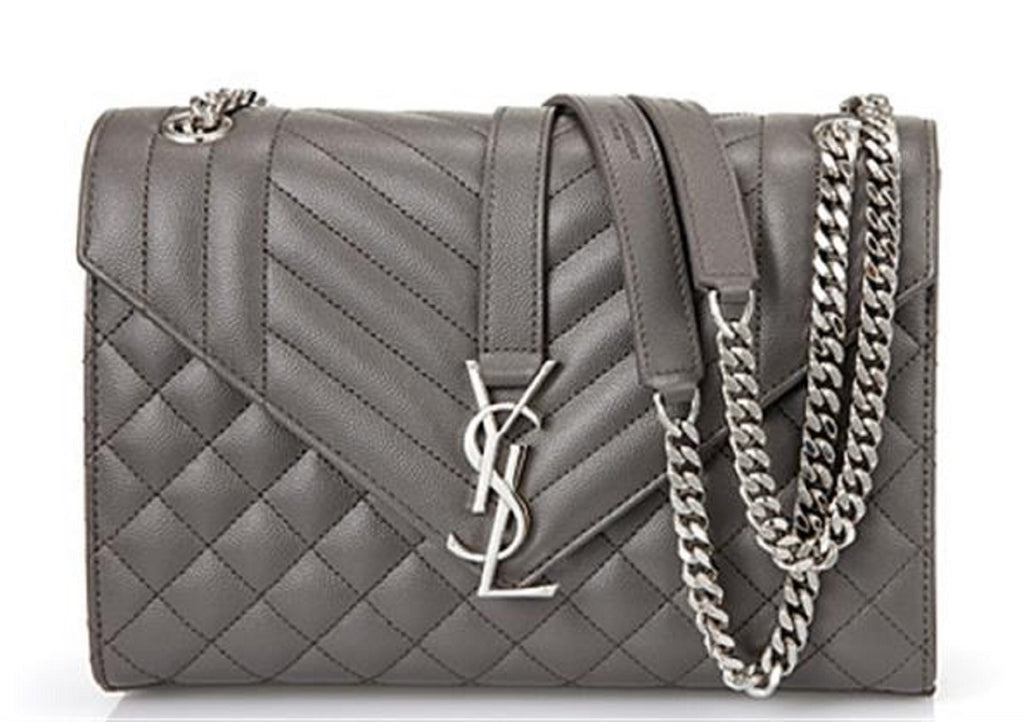 Saint Laurent YSL Women's Earth Gray with Silver Hardware Medium Envelope Chain Shoulder Bag 428134 at_Queen_Bee_of_Beverly_Hills