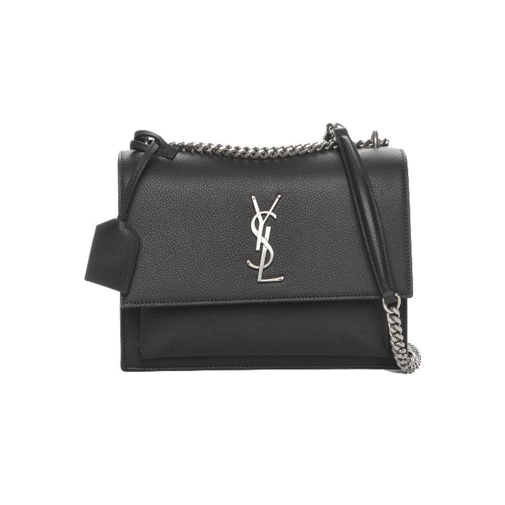 Saint Laurent YSL Women's Gray Monogram Sunset Cross Body Bag 442906 at_Queen_Bee_of_Beverly_Hills