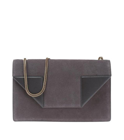 Saint Laurent YSL Women's Gray Suede Leather Medium Betty Handbag 434611 at_Queen_Bee_of_Beverly_Hills