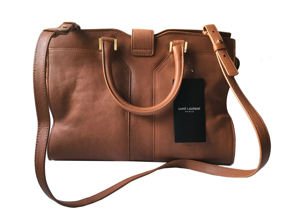 Saint Laurent YSL Women's Ligne Leather Brown Satchel Handbag 400666 at_Queen_Bee_of_Beverly_Hills