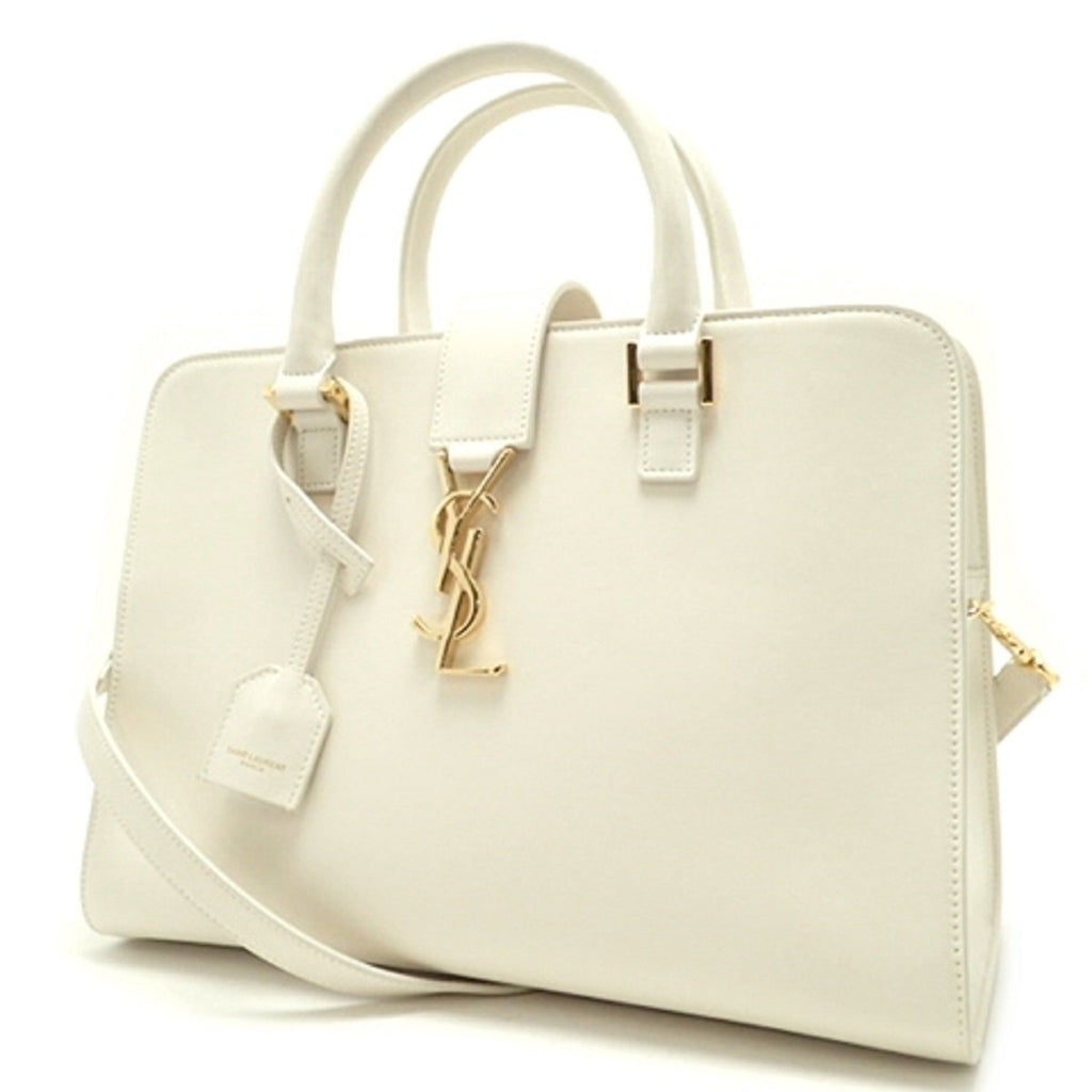 Saint Laurent YSL Women's White Leather Cabas Satchel Shoulder Handbag 472469 at_Queen_Bee_of_Beverly_Hills