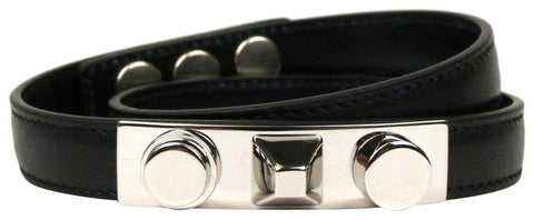 Saint Laurent YSL Wrap Bracelet Silver Tone Studs Black Leather Large 420121 at_Queen_Bee_of_Beverly_Hills
