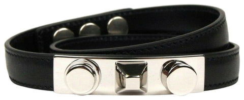 Saint Laurent YSL Wrap Bracelet Silver Tone Studs Black Leather Medium 420121 at_Queen_Bee_of_Beverly_Hills