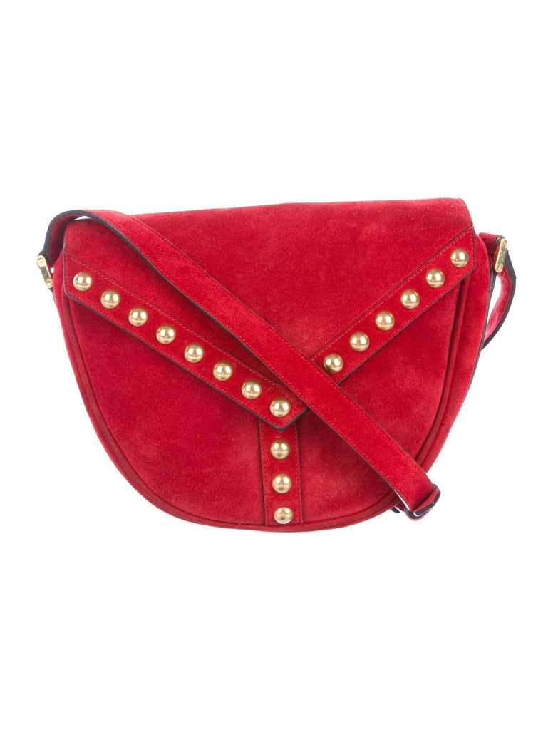 Saint Laurent YSL Y Studded New Red Besace Suede Saddle Bag Crossbody 439143 at_Queen_Bee_of_Beverly_Hills