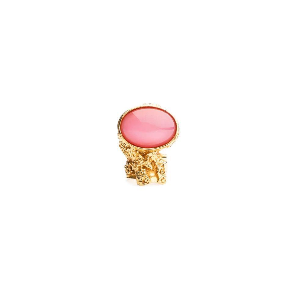 Saint Laurent Yves YSL Women's Pink Glass Oval Gold Ring Size 5 196994 at_Queen_Bee_of_Beverly_Hills