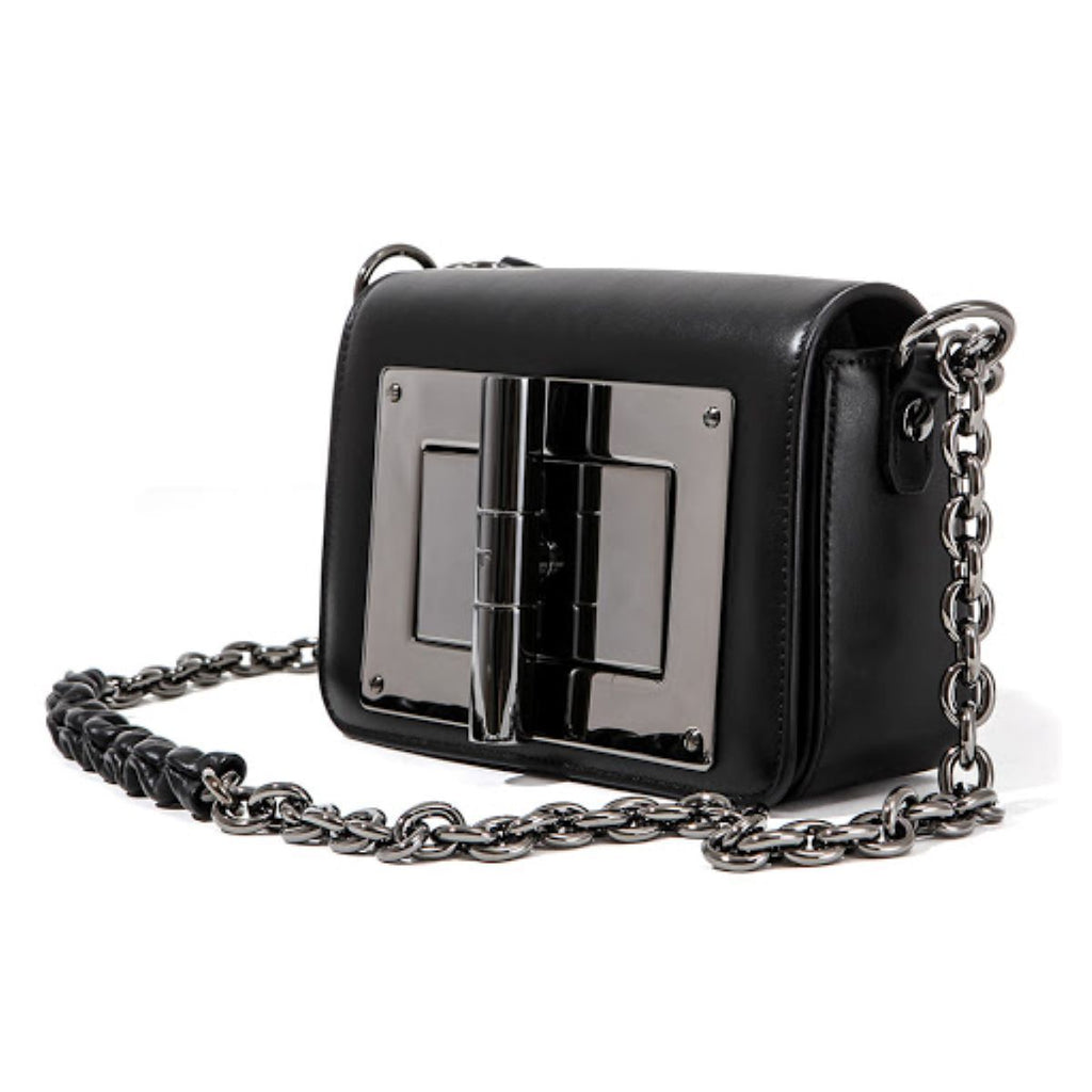 Tom Ford Classic Natalia Day Bag Black Leather Palladium Lock Crossbody Handbag at_Queen_Bee_of_Beverly_Hills