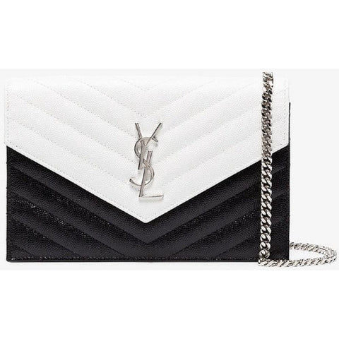 YSL Black White Grain De Poudre Matelasse Monogram Envelope Chain Wallet 393953 at_Queen_Bee_of_Beverly_Hills