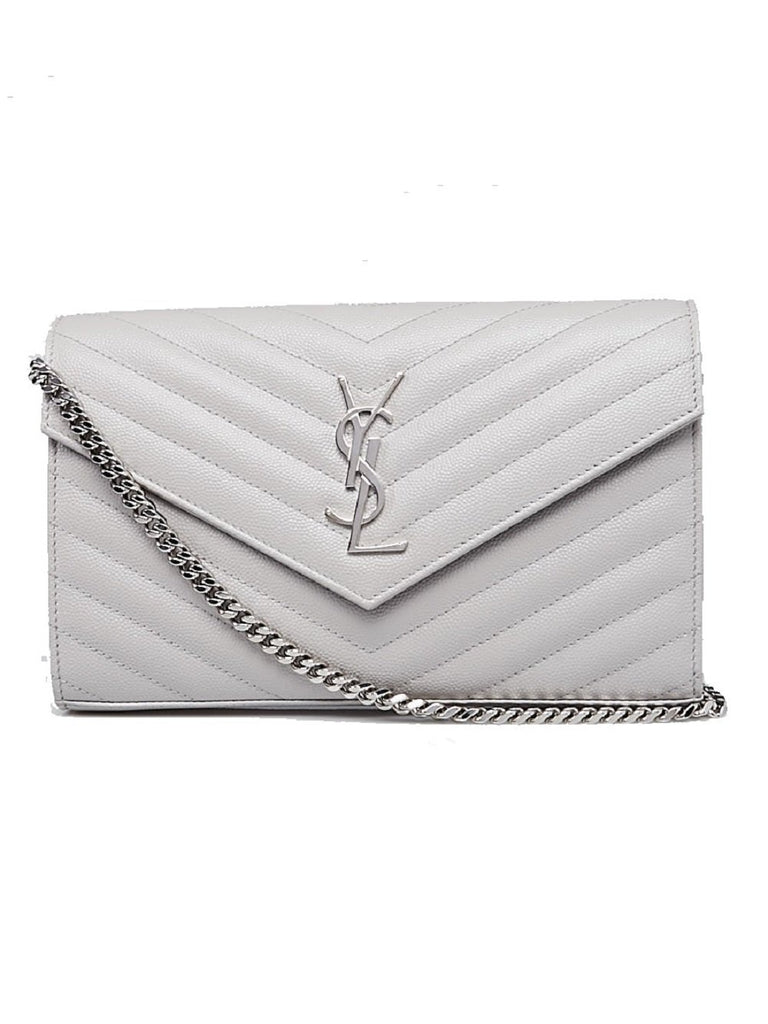 YSL Envelope Chain Wallet in Grain de Poudre White Leather Medium 377828 at_Queen_Bee_of_Beverly_Hills